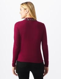 Roz & Ali Jeweled Mock Neck Pullover Sweater - Plum Wine - Back