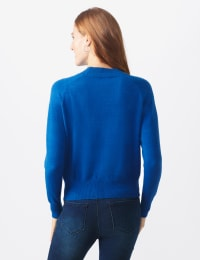 Roz & Ali Cascading Jewels Pullover Sweater - Lapis Blue - Back