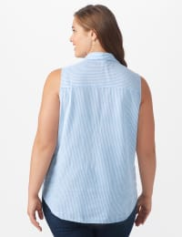 Sleeveless Embroiderered Stripe Shirt - Plus - Blue - Back