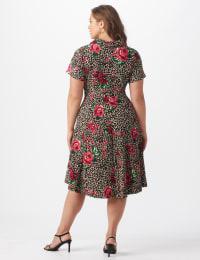 Leopard Rose Dress - Plus - Brown/pink - Back