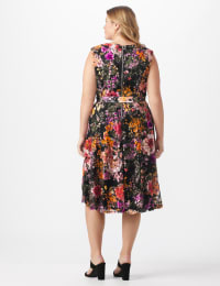 Wrap Rose Lace Dress - Plus - Black/coral - Back