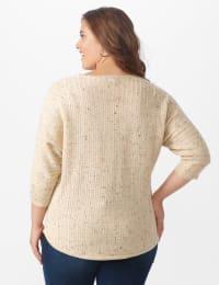 Westport Novelty Yarn Curved Hem Sweater - Plus - Bambi - Back
