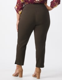 Roz & Ali Solid Superstretch Tummy Panel Pull On Ankle Pants With Rivet Trim Bottom - Plus - cocoa - Back