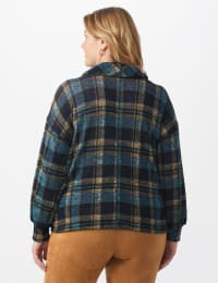 Blue Plaid Hacci Sweater Knit Cowl Neck Top - Plus - Blue - Back