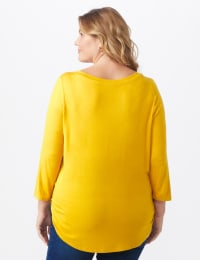 Rayon Spandex Scoop Neck Tee - Plus - Amber - Back