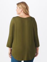 Rayon Spandex Scoop Neck Tee - Plus - Olive - Back