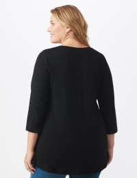 DB Sunday V Neck Stud Knit Top - Plus - Black - Back