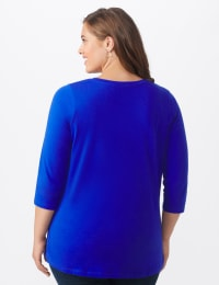 DB Sunday V Neck Stud Knit Top - Plus - Royal Blue - Back