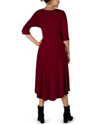 Tie Front Midi Dress Hi-Lo Hem- Misses - Wine - Back