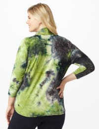 """""""Never Forget Your Mask"""" Denim Friendly Tie Dye Top - Plus - Olive/Navy - Back"""