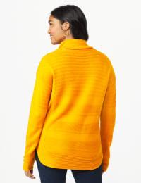 Westport Ottoman Stitch Curved Hem Sweater - Misses - Burnt Squash - Back