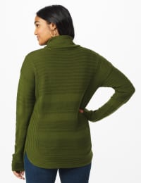 Westport Ottoman Stitch Curved Hem Sweater - Misses - Olive Vine - Back