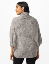 Westport Cable Poncho Sweater - Misses - Felt Grey Heather - Back