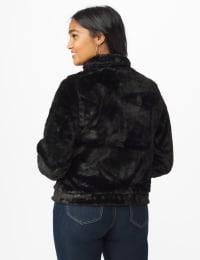 Faux Fur Zip Up Bomber Jacket - Black - Back