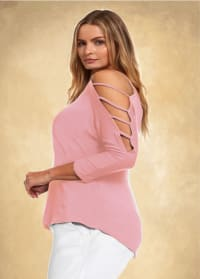 3/4 Sleeve Strappy Shoulder Knit Top - Plus - Rose - Back