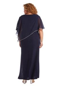Rhinestone Poncho Metallic Stripe Dress - Plus - Navy - Back