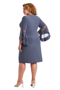 Illusion Bell Sleeve Dress with Rush Detail at Waist - Plus - Charcoal - Back