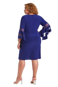 Illusion Bell Sleeve Dress with Rush Detail at Waist - Plus - Electric Blue - Back