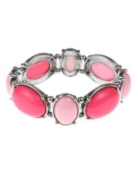 Pink Moroccan Design Stretch Bracelet - Pink Multi - Back