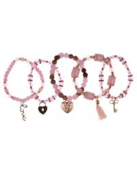 5 pc Pink Multi Bracelet Set - Pink Multi - Back