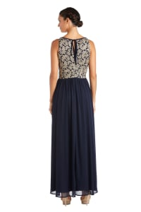 Long Glitter Lace Bodice Keyhole Halter Dress - Navy / Gold - Back