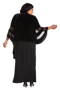 Waterfall Jacket with Sheer Band Butterfly Sleeves - Plus - Black - Back