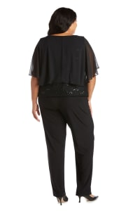 Pinch Front Detail Social Top - Plus - Black - Back