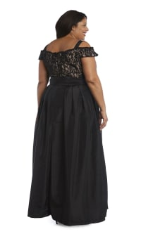 High-Waisted Dress with Bow, Lace Top and Cap Sleeves - Plus - Black / Taupe - Back