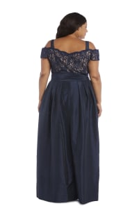 High-Waisted Dress with Bow, Lace Top and Cap Sleeves - Plus - Navy / Taupe - Back