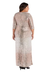 3/4 Sleeve Sequin Maxi Gown with Slit - Plus - Champagne - Back
