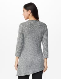 Westport Space Dye Embellished Asymmetrical Knit Tunic - Grey/Black - Back