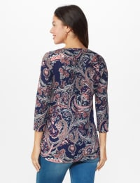 Dressbarn Paisley Hacci Cinched Knit Top - Misses - Navy - Back