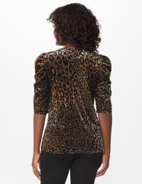 Roz & Ali  Puff Sleeve Velvet Burnout Knit Top - Misses - Neutral - Back