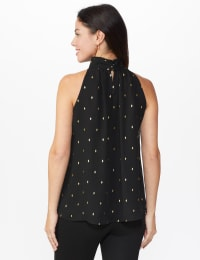 Foil Printed Sleeveless Mock Neck Blouse - Misses - Black - Back