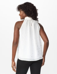 Foil Printed Sleeveless Mock Neck Blouse - Misses - Sugar Swizzle - Back