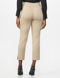 Roz & Ali Solid Superstretch Tummy Panel Pull On Ankle Pants With Rivet Trim Bottom - Misses - dune - Back