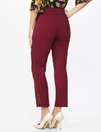 Roz & Ali Solid Superstretch Tummy Panel Pull On Ankle Pants With Rivet Trim Bottom - Misses - wine - Back