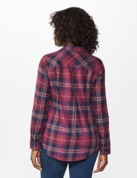 """Burgundy Plaid """"To Tie Or Not To Tie"""" Shirt - Burgundy - Back"""