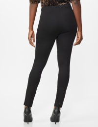 Ponte Pull On Legging with Faux Pockets and Rivet Trim - Misses - Black - Back