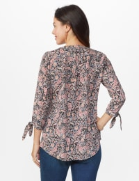 Floral Paisley Pintuck Woven Popover - Black - Back