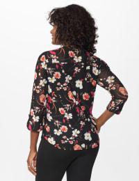 Roz & Ali Ditsy Floral Pintuck Popover - Misses - Black Multi - Back