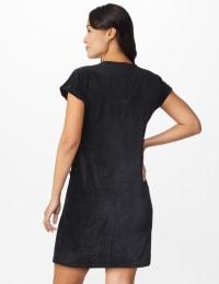 Patch Pocket Sheath Dress - Misses - black - Back