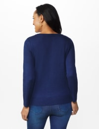Pre-Order Roz & Ali Cheers Pullover Sweater - Misses - Navy - Back