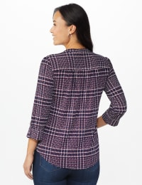 Roz & Ali Plaid Pintuck Knit Popover - Misses - NAVY-RED - Back