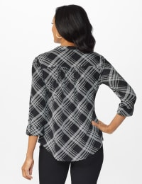 Roz & Ali Bias Pintuck Knit Plaid Popover - Black-White - Back