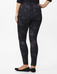 Ponte Floral Print Pull on Legging with Interior Elastic Waistband - Black Floral - Back