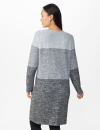 DB Sunday Hacci Sweater Knit Color Block Cardigan - Misses - Grey - Back
