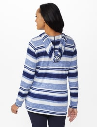 DB Sunday Kangaroo Pocket Stripe Hacci Hoodie - Misses - Blue - Back