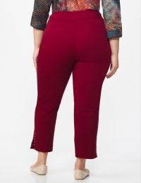 Roz & Ali Solid Superstretch Tummy Panel Pull On Ankle Pants With Rivet Trim Bottom - Plus - wine - Back
