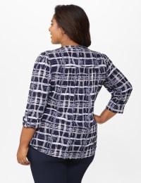 Roz & Ali Plaid Pintuck Knit Popover - Plus - Navy - Back